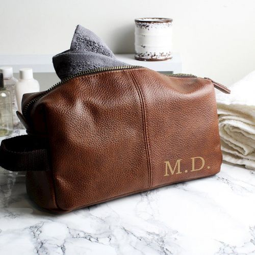 Luxury Initials Brown Leatherette Wash Bag